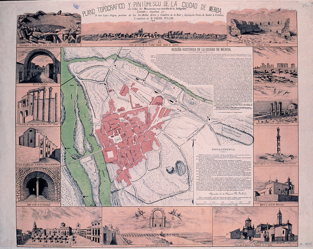 Plano de Mérida de Pulido y López Alegría (1878)