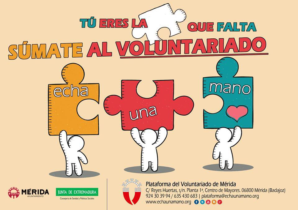 Aprobada la subvención de 16.000 euros para la Plataforma del Voluntariado de Mérida