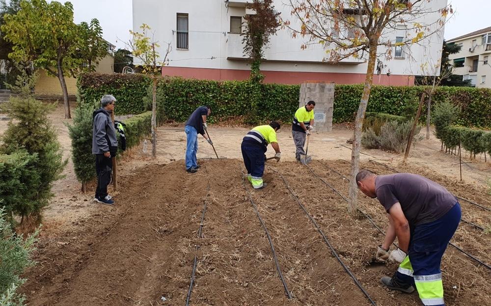 Operarios municipales preparan un huerto en una foto de archivo