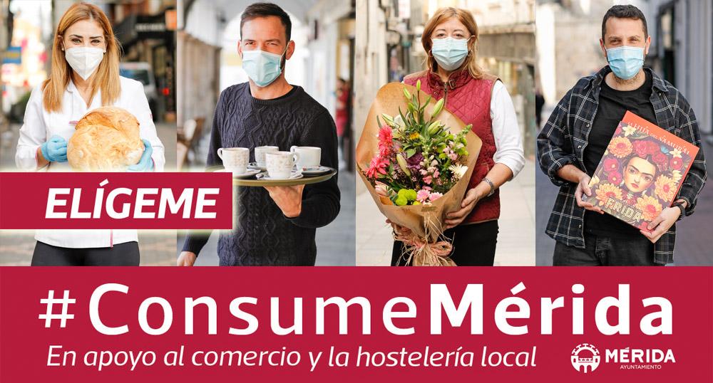'Elígeme, Consume Mérida' es el lema de la potente campaña de publicidad que promueve el ayuntamiento en beneficio del comercio y la hostelería local